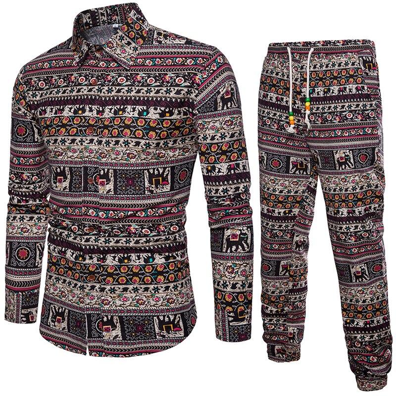 Рубашка + Штаны Повседневное рубашки Для мужчин Модная одежда с длинными рукавами рубашка в клетку camisa masculina рубашка сплошной цвет мужской б...