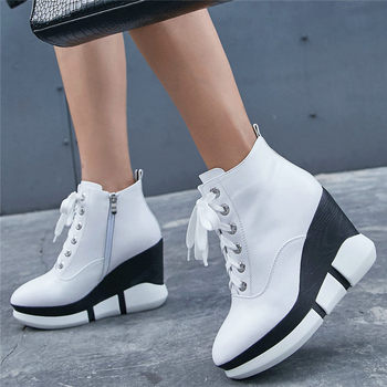 2019 Trainers Women Genuine Leather High Heel Party Pumps High Top Punk Walking Creepers Round Toe Wedges Platform Ankle Boots
