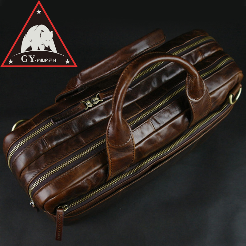 ANAPH Leather Expandable Briefcases For Men/ Attache 15 Inch Laptop Case/ Office Work Bags/ Double Zip Open Tote Bag In Brown anaph 15 inch laptop briefcase men office work bags brown real cow leather top quality tote bag man double zippers open