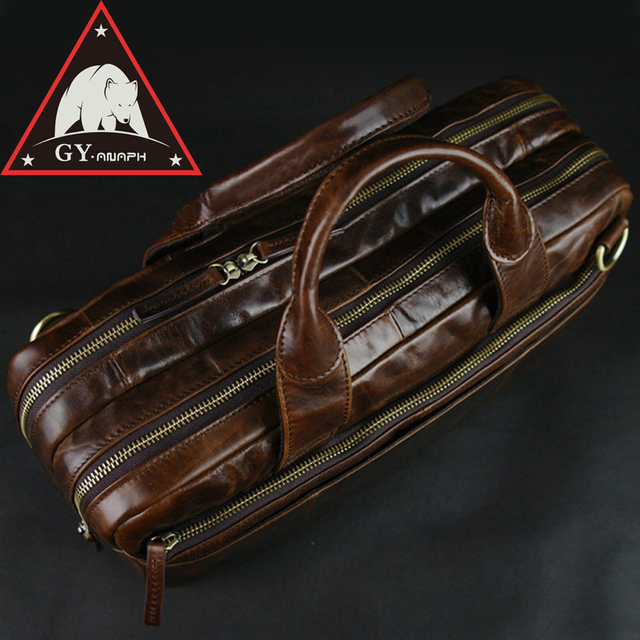 77ff0a3e69a9 ANAPH Portfolio Leather Men's Briefcases Attache 15 Inch Laptop Case/  Office Work Bags/ Double Zip Open Male Bag In Brown