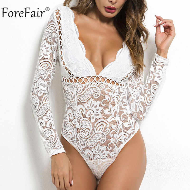 4fda5e218178 Forefair Sexy Black Lace Bodysuits Women Summer Rompers 2018 Autumn Sexy  Backless Long Sleeve Top Short