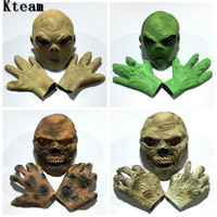 One Set Scary Alien Latex mask Gloves costumes Adult Party Costume Alien Head UFO Mask Accessories Horror Zombie Face Mask Toys