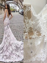 1 Yard Exquisite Sequin Cotton Embroidered Flower Lace Fabric Bridal Gown Wedding Dress Prom 145cm wide