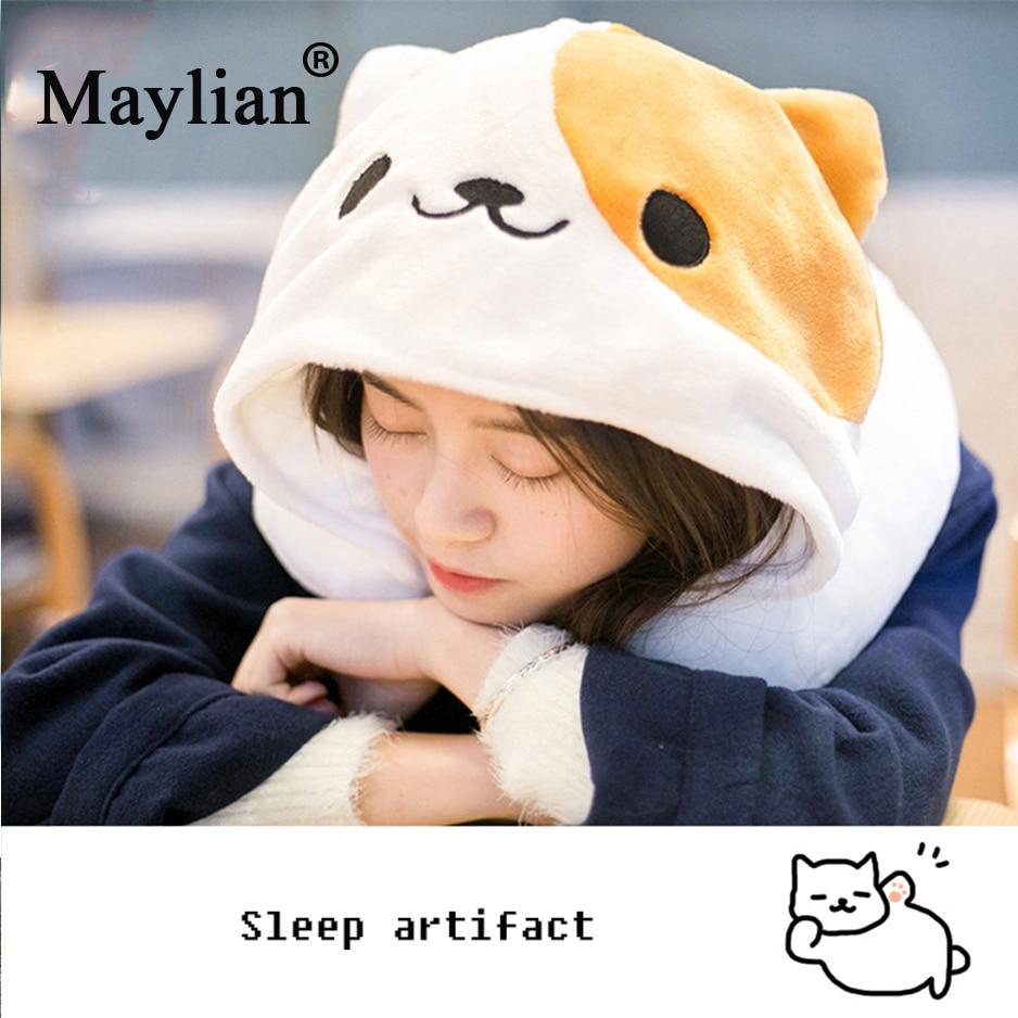U Shape Travel Pillow Cartoon Cute Hoodie Cat Neck Pillow Office Airplane New Neck Cushion for Sleep Outdoor Travel Pillows P19