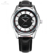 KS Automatic Silver Date Analog Crystal Transparent Back Leather Band Strap Mechanical Auto Men's Black White Dress Watch /KS256
