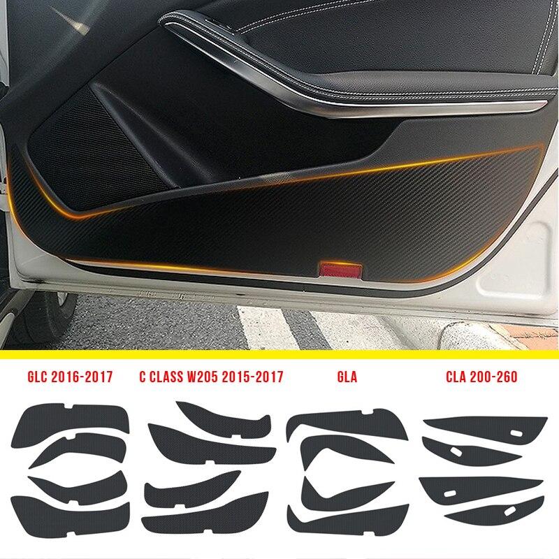 Anzulwang porta do carro anti kick almofada proteção esteira de fibra carbono adesivos para mercedes benz gla cla glc c classe w205/e classe w213