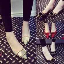 Plus Size 40 41 Women Pumps Rivets Square Buckle Autumn Single Shoes Genuine Leather Pointed Toe