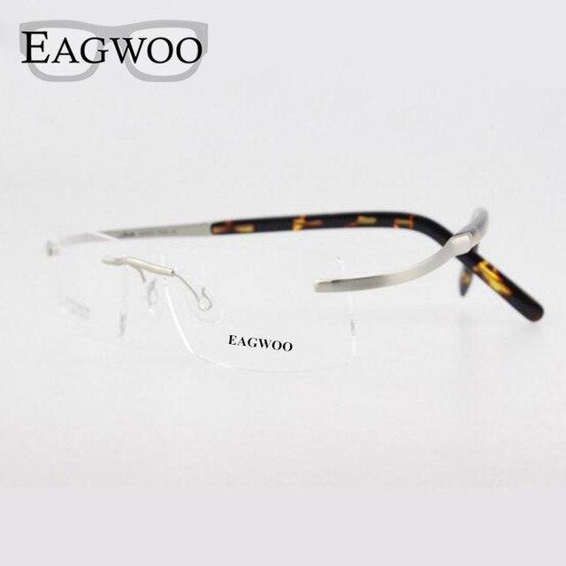 Eagwoo Titanium Очки Без Оправы Оптически Рамки Рецепт Зрелище Flexiable Очки Не Винт Близорукость Мужчины очки 802