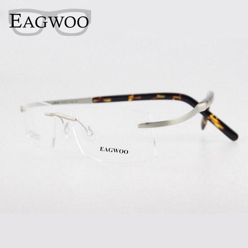 3d1f79abfb Eagwoo Titanium Eyeglasses Rimless Optical Frame Prescription Spectacle  Flexiable Glasses Non Screw Myopia Men Eye glasses 802-in Eyewear Frames  from Men s ...