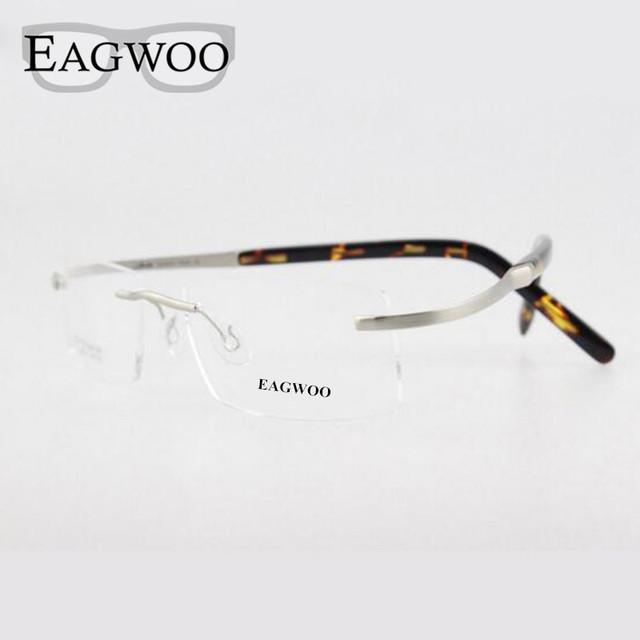 Eagwoo flexiable gafas spectacle prescription marco óptico titanium sin rebordes no tornillo miopía hombres anteojos 802