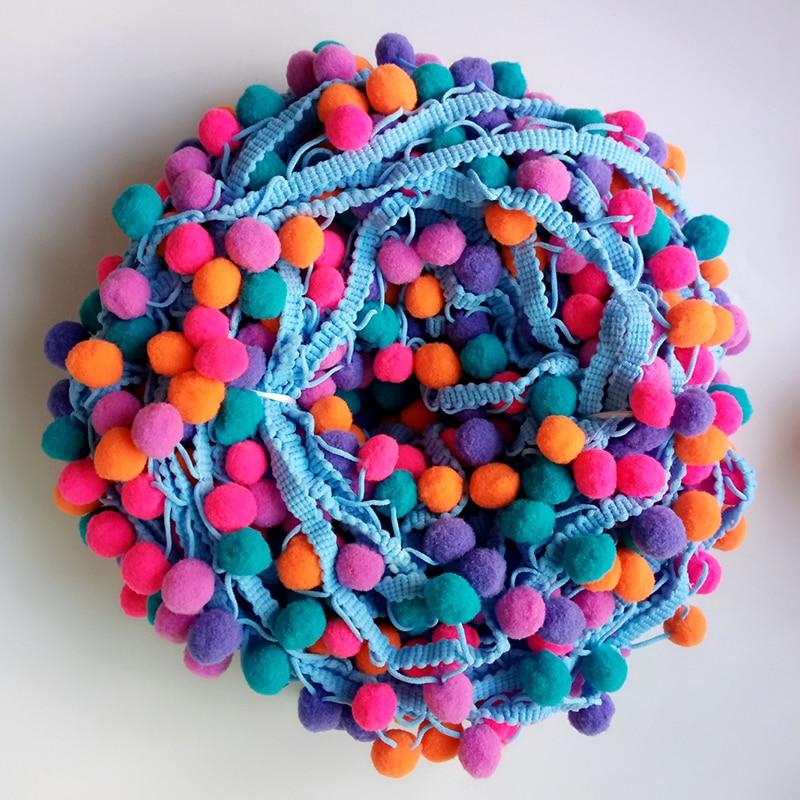 ZHUTOUSAN Blue Lace Rainbow Pom Pom Tassel Pompom Trim Balls Fringe Ribbon Apparel Fabric DIY Craft Sewing Supplies 5 Yards