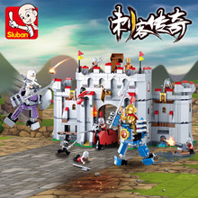 Sluban 877Pcs Knight Armor Medieval Castle Series Mode Bricks LegoINGLs Building Blocks Sets Toys for Children Christmas Gifts