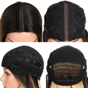Image 5 - קסם שיער ארוך סינטטי חזית תחרת פאות עבור נשים שחורות 28 אינץ צהוב ישר פאה עבור נשים סיבי טמפרטורה גבוהה שיער