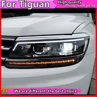 Автомобиль Стайлинг для VW Tiguan фары 2017 для Tiguan голову светодиодные лампы ДРЛ Биксеноновая объектив HID комплект фар динамический сигнал повор