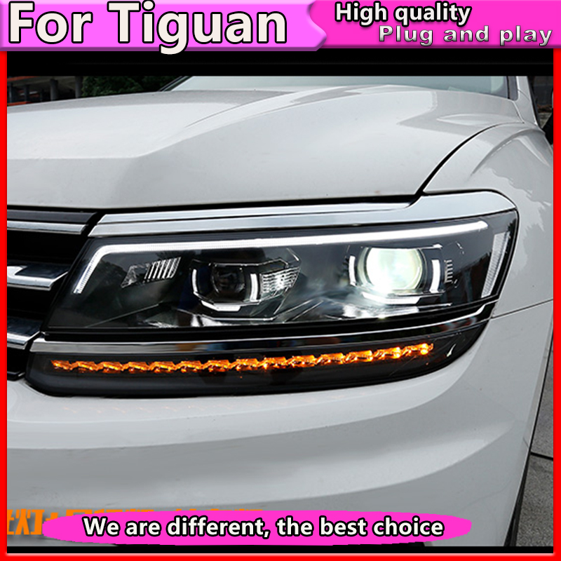 Car Styling For VW Tiguan headlights 2017 For Tiguan head lamp led DRL Bi-Xenon Lens HID KIT headlight Dynamic turn signal image