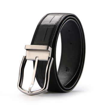 McParko mens belts luxury Genuine crocodile leather belt male black waist strap men belts leather with buckle stainless steel