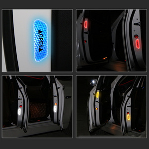 Image 2 - 4 Colors 4 Pcs Door Safety Reflective Warning Stickers Car DIY Safety Mark Auto Decor Night Lighting Luminous Tapes Car styling