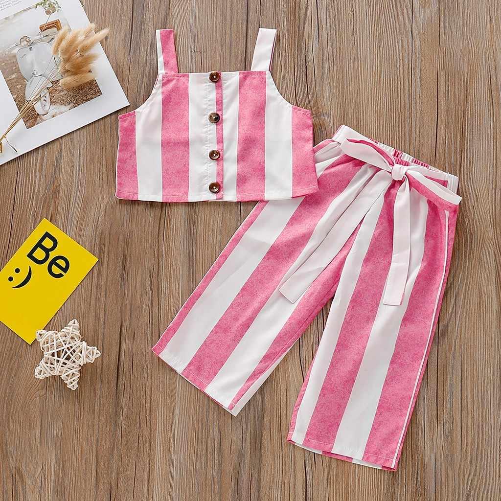 MUQGEW/Детский комплект из топа и штанов без рукавов в полоску с подтяжками для девочек, летняя одежда для девочек, ropa niñas
