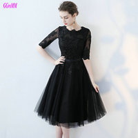 Glamorous Little Black Formal Dresses 2017 Nw Sexy Evening Party Dress Short Sweetheart Tulle Appliques Plus