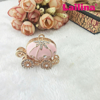 Newest Large Size 50mm*40mm Pink Pumpkin Car Rhinestone Pendant, princess carriage charm