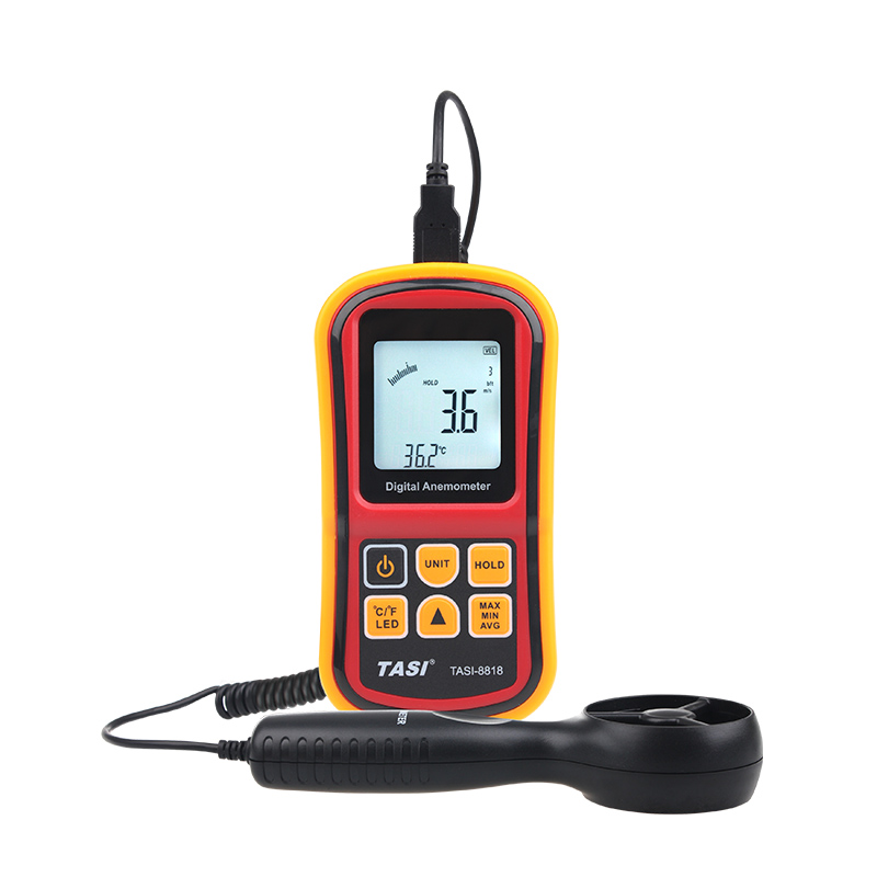 Digital Anemometer TASI-8818 handheld Wind Speed Meter Anemometer Thermometer dual display speed and temperature tester meter lm 81am anemometer meter lutron new lm81am