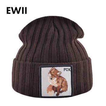 Gorro de invierno de punto para hombre, sombreros de invierno para hombre, gorro de animales para adultos, gorros de moda para mujer el VIH