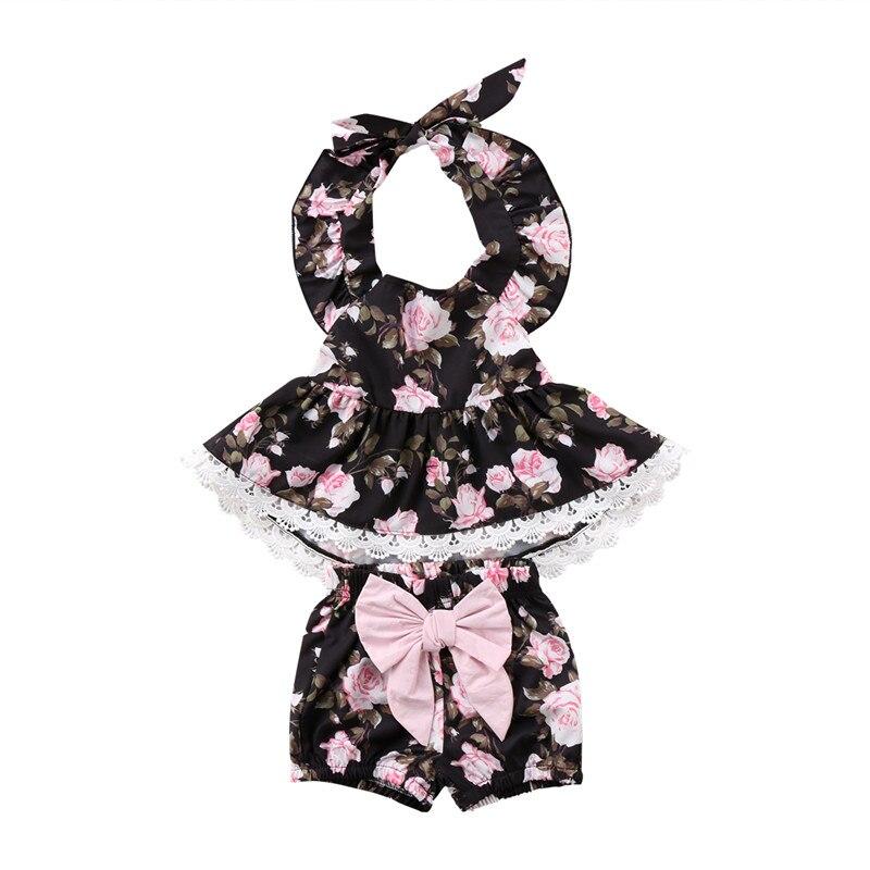 Новый стиль одежда для малышей Детская одежда для девочек цветочный Повседневные платья Футболка Топ бантом Брюки для девочек наряды 0 до 5 ...