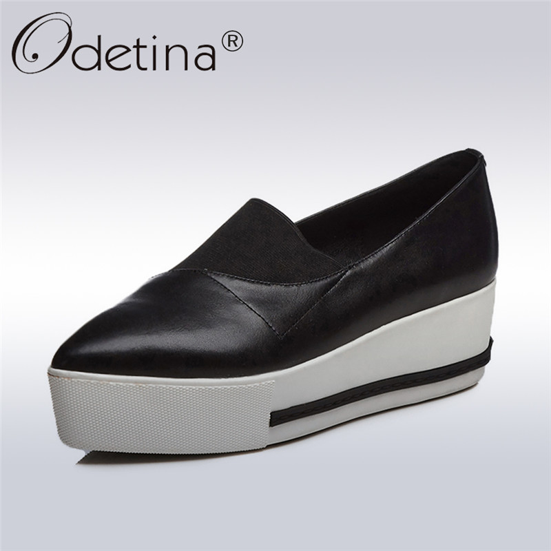 Odetina 2018 New Fashion Genuine Leather Flats For Women High Platform Slip on Shoes Female Casual Shallow Pointed Toe Flat Shoe siketu sweet bowknot flat shoes soft bottom casual shallow mouth purple pink suede flats slip on loafers for women size 35 40
