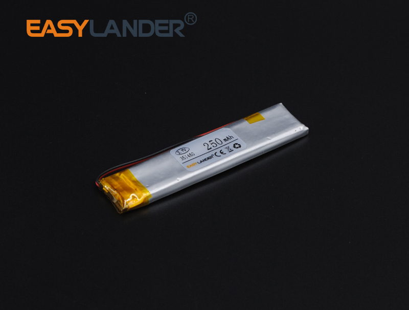 10pcs/Lot 3.7V 250mAh Lithium Polymer Li-Po Li-ion Battery For pen MP3/MP4/Game Player GPS PSP Lampe speaker toys E-book 351460