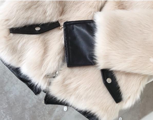 Gx1693 De Faux En Mince Patchwokr White Cuir Pu Décontracté Style Jackers Nouvelle Manteaux Femmes black Arrivée Survêtement Fourrure Hiver Zipper Femelle apricot EtxwT0UFqW