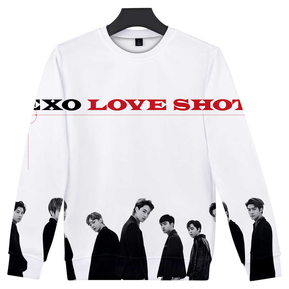 Kpop Bang Store EXO Love Shot 3D impreso cuello redondo sudaderas mujeres/hombres moda manga larga sudaderas 2019 oferta ropa Casual