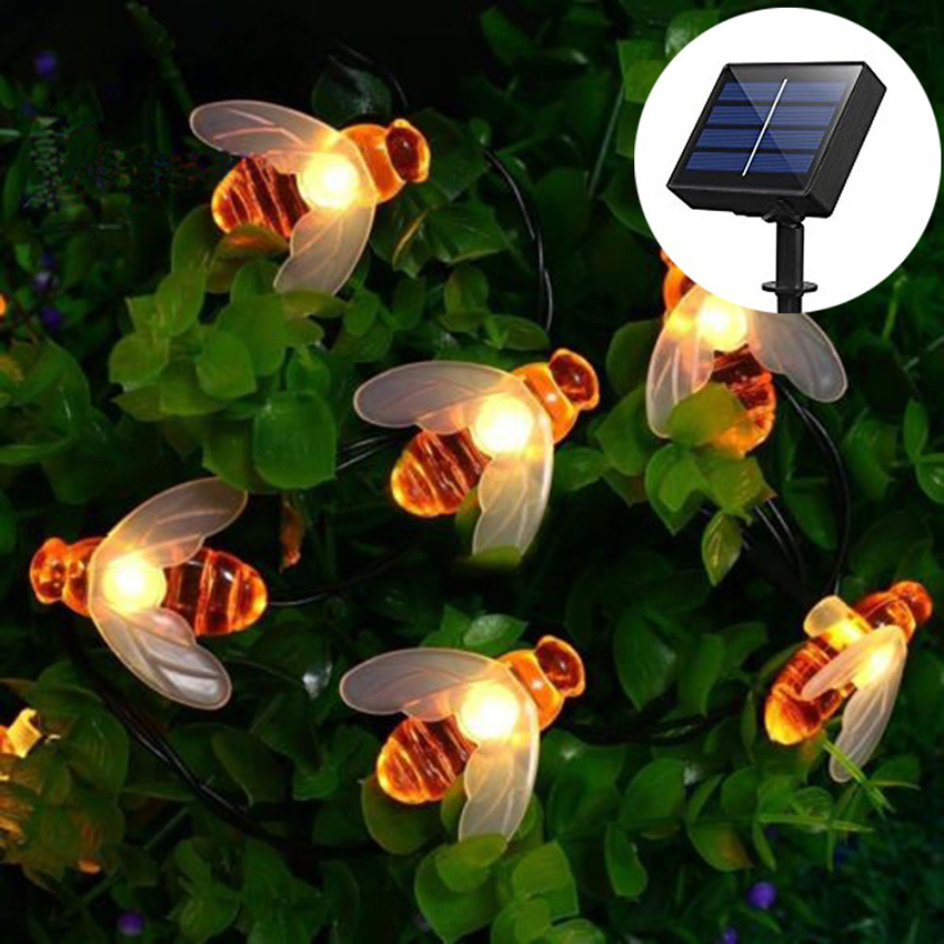 Solar Powered Cute Honey Bee Led String Fairy Light 20leds 30leds 50leds Bee Outdoor Garden Fence Patio Christmas Garland Lights