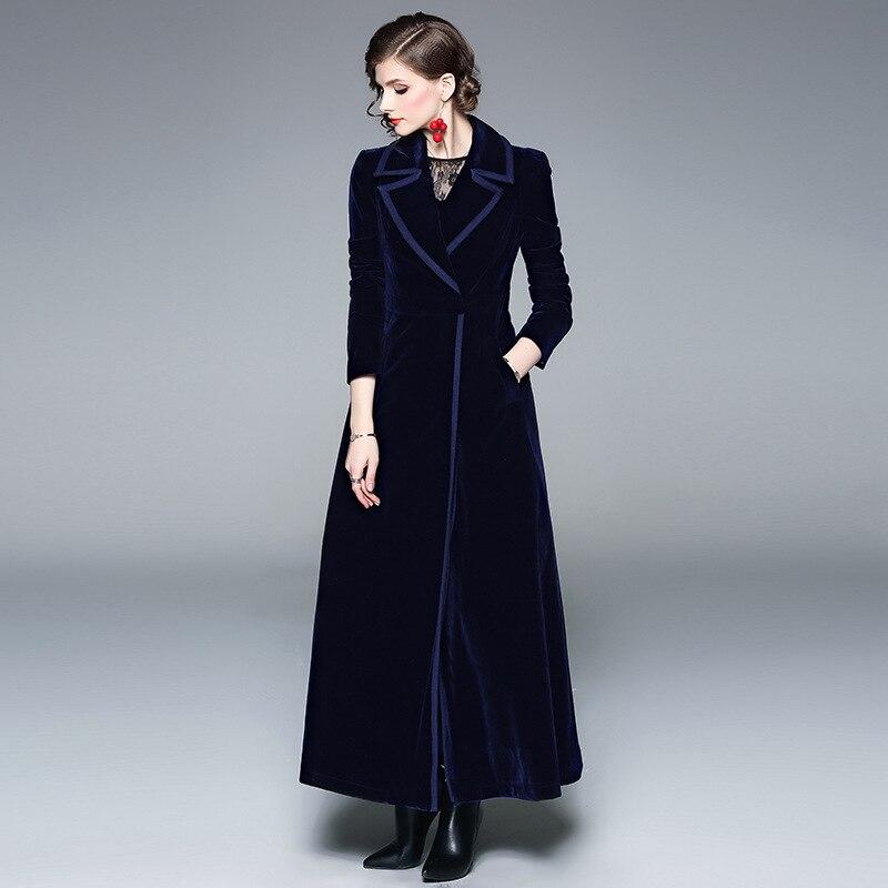 Women Winter Long Dress Velvet Windbreaker Winter Fashion Vintage X-Long Turn-down Collar A-Line Solid Coat Windbreaker Vestido