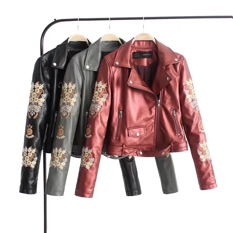 2018 autumn and winter zipper motorcycle womens leather Slim embroidery leather jacket lady Faux Leather