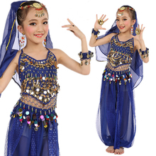 2018 New Arrival 5PCS/SET Belly Dance Costume Indian Dress For Children Kids Belly Dance Costume Bollywood Dance Girls Gift S-XL