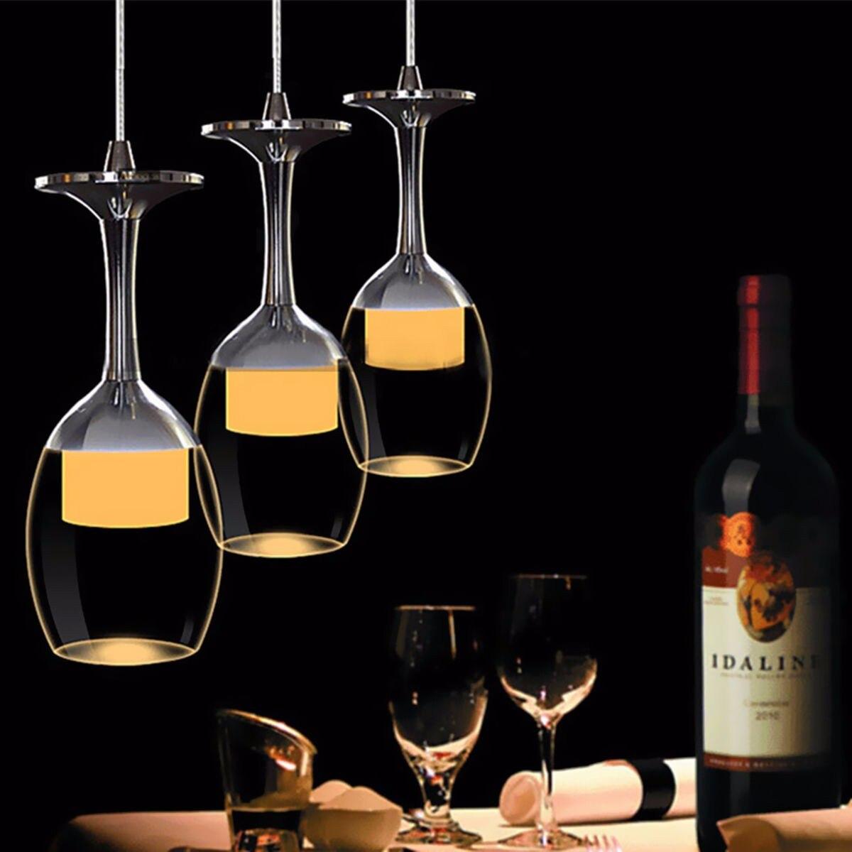 AC 220V LED Wine Glass Bar Light <font><b>Pendant</b></font> Lamp Fixture Lighting Chandelier For Home Dining Room Restaurant Cafe High Quality
