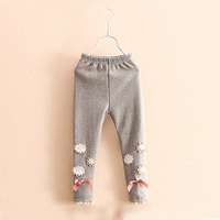Free shipping kid's long pants girls fashion leggings spring boutique pants full length pants soft solid printing with bowknot