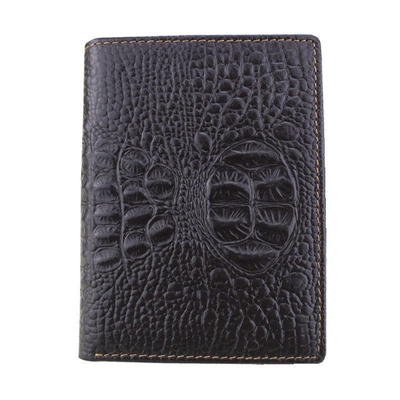 2017 Vintage Cow Leather Men Wallets Crocodile Pattern Multi-Functional Cowhide Coin Cards Purse Vehicle License Wallet For Men cowather 100% top cow genuine leather men wallets 2017 men wallet crocodile embossed purse vintage designer male free shipping