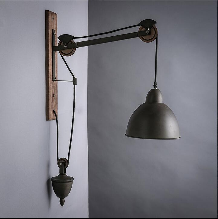 Wall Lamp Lights wood pulley industry wall lamps style wall light retro bar single head lift ...