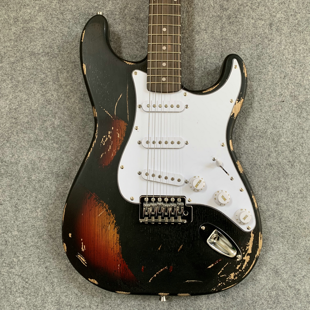 In stock, retro artifacts real picture ST sunset color electric guitar, old guitar, gift to friends. Free shipping.