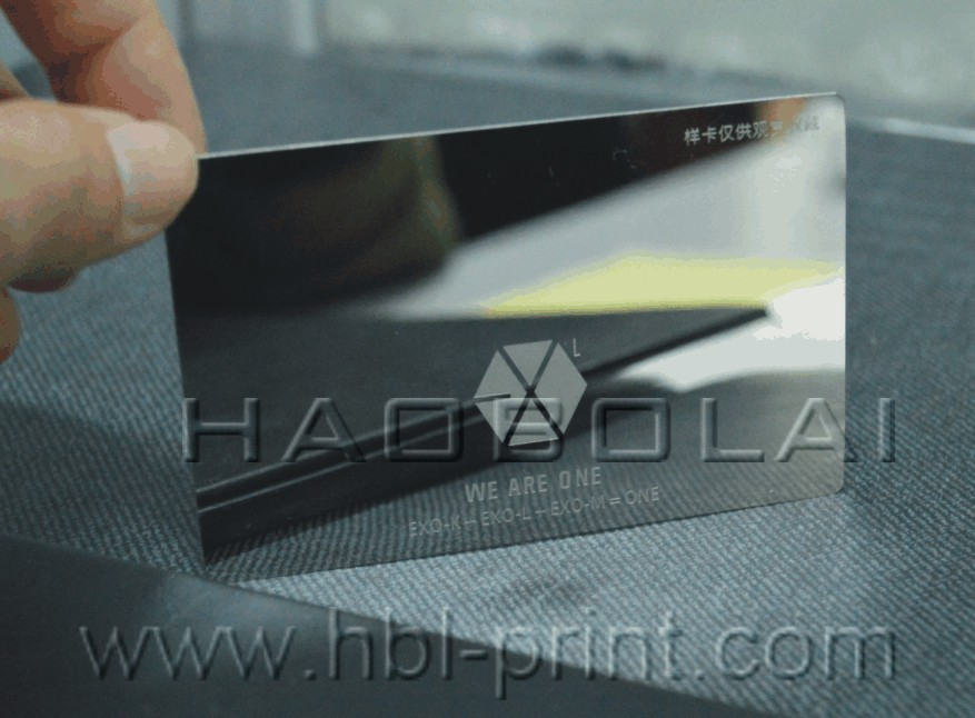 Mirror business card metal name card etched texts without printing ...
