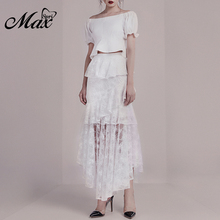 Max Spri 2019 New Women Off Shoulder Short Sleeves Top Cascading Lace Ruffles Skirt Party Elegant Office Lady 2 Piece Sets White