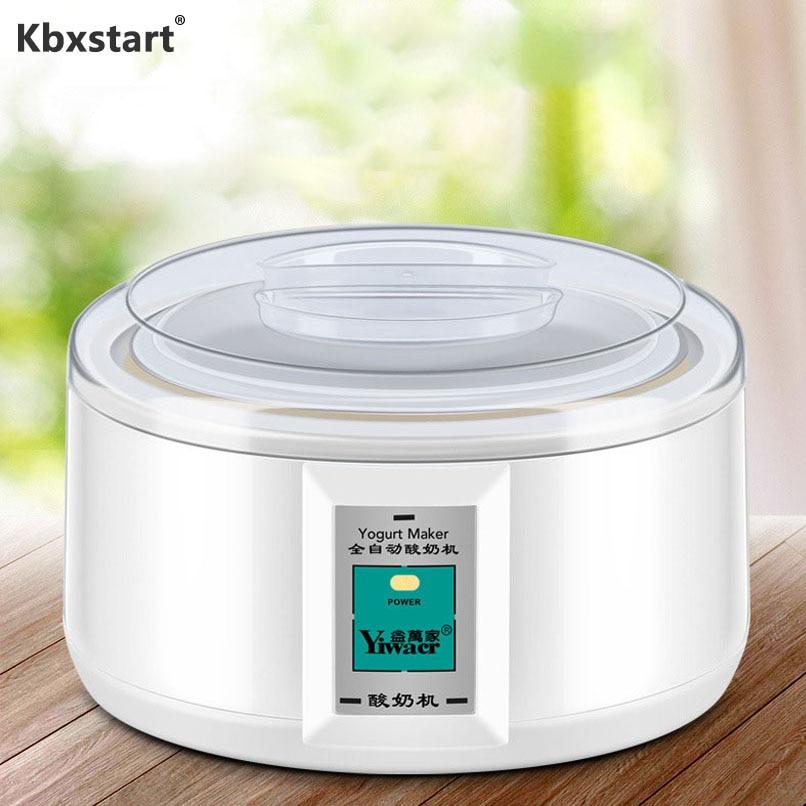 Ev Aletleri'ten Yoğurt Makineleri'de Kbxstart çok işlevli otomatik Yoğurt Makinesi 1.5L Natto pirinç şarabı DIY Aracı Paslanmaz Çelik Iç Yoğurt Beker 220V title=