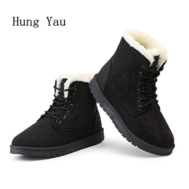 Hung Yau Women Warm Boots Winter Ankle Boots Martin Boots