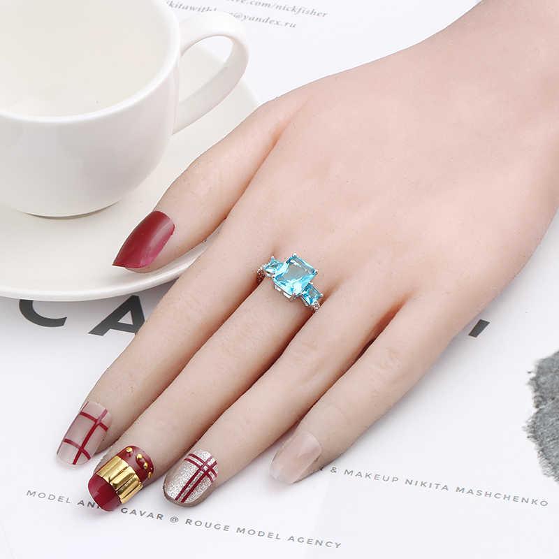 แหวนเงินชุบสีเขียวขนาดใหญ่ Zirconia แหวนผู้หญิงเครื่องประดับสำหรับหญิงรักหมั้นงานแต่งงาน