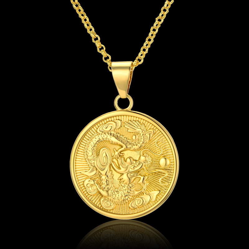 Chinese dragon pendants necklaces for women and men gold color chinese dragon pendants necklaces for women and men gold color auspicious mascot ornaments lucky gifts in pendant necklaces from jewelry accessories on aloadofball Choice Image