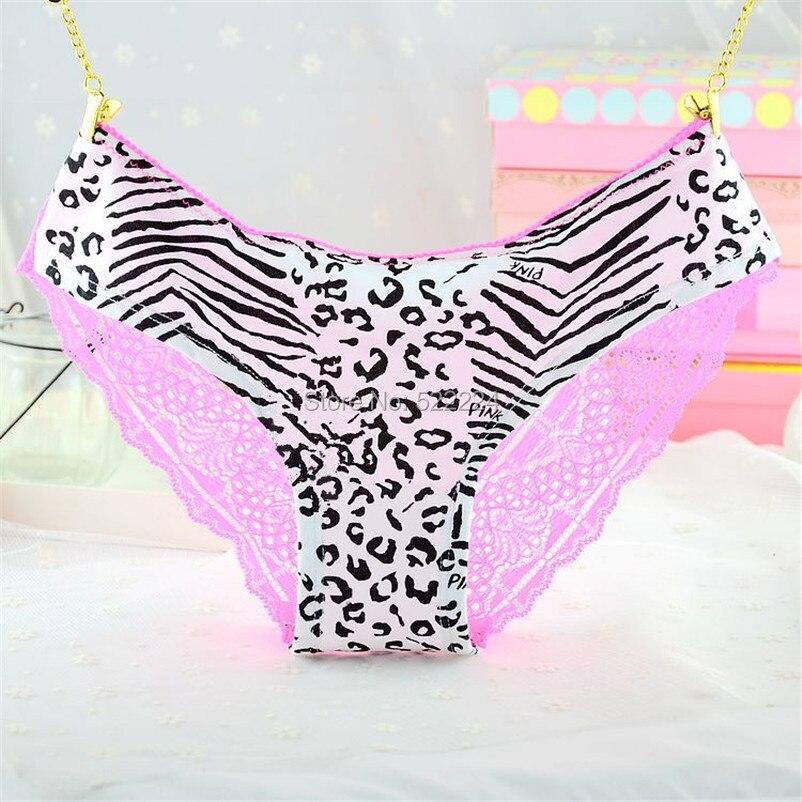 1 개 매력적인 여성 레이스 팬티 레이디 사랑 섹시한 핑크 심장 팬티 여성의 낮은 허리 표범 코튼 속옷 섹시한