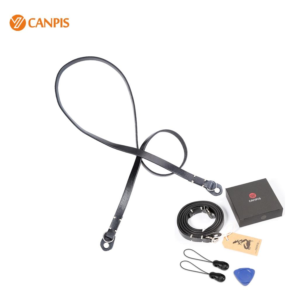 CANPIS becerro cuero negro correa de cuello para Micro cámara Digital Leica X1 X2 M9 M8 M6 M3 Sony NEX 5/6/a7