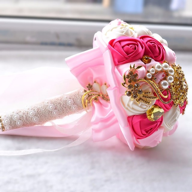 2018 new hot Artificial Wedding Bouquets Hand made Flower Rhinestone Bridesmaid Crystal Bridal Wedding Bouquet de mariage