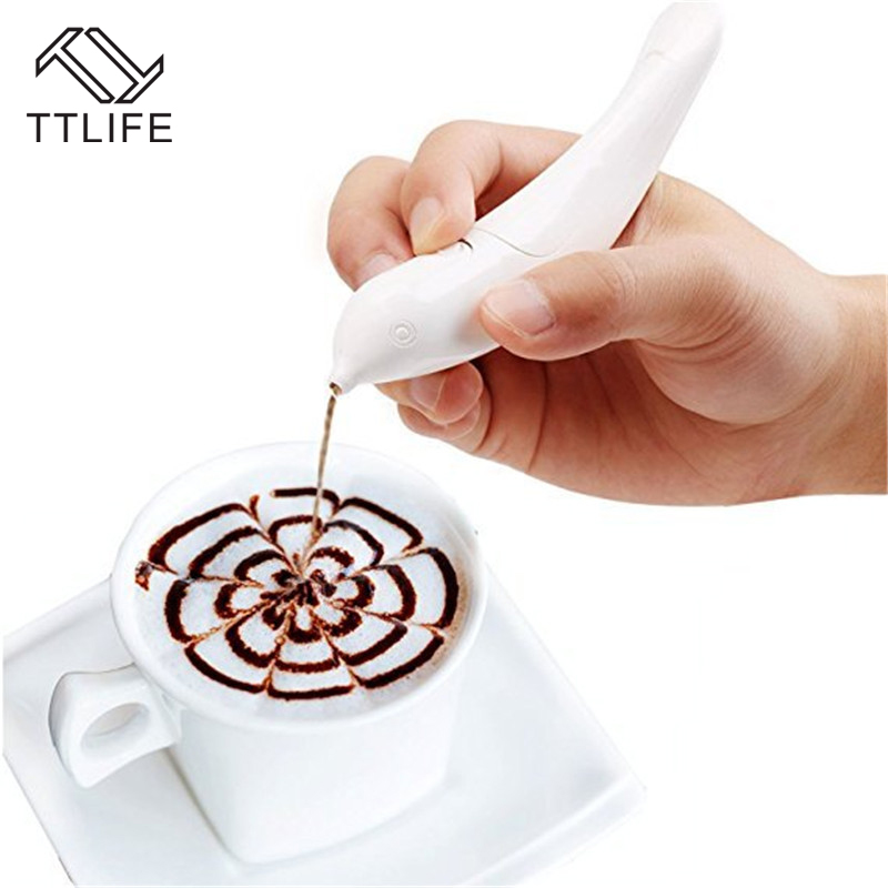 TTLIFE New Electrical Latte Art Pen for Coffee Cake Spice Decoration Carving Baking Pastry Tools